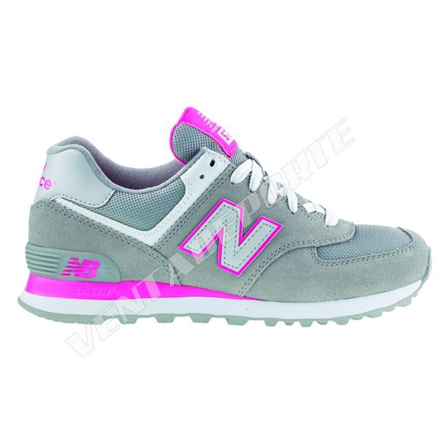 new balance 574 rosa y gris